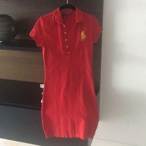 Red big pony polo dress. Gold pony. XS
